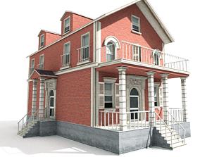 3D asset Residential house 01