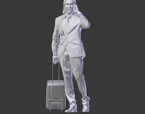 Man with Suitcase Holding Phone 3D print model