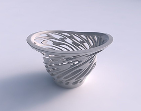 3D printable model Bowl with twisted smooth cuts eccentric