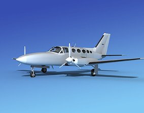 Cessna 414A Chancellor Bare Metal 3D model