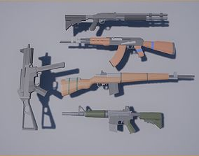 Low-poly Modern Weapons 3D model