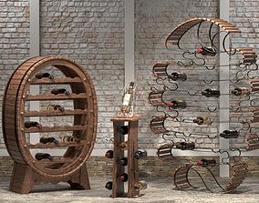 Wooden wine stands 3D
