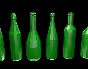 Low poly wine bottles 3D model