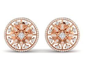 precious silver Women earrings 3dm stl render detail