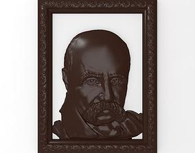 Taras Shevchenko bas relief for CNC 3D printable model