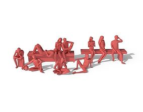 3D model Low Poly Posed People Pack 5