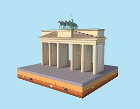 Cartoon Lowpoly Berlin Brandenburg Gate Landmark 3D asset