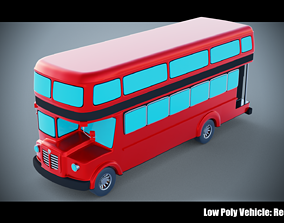 Low Poly Vehicle - Red Bus 3D asset VR / AR ready