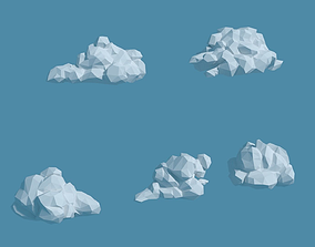 3D model Low Poly Stylized Cumulus Clouds Pack 1