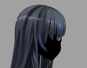 3D Hair anime girl 01 low poly rigged low-poly