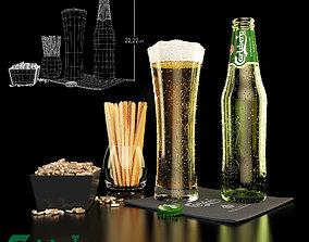 3D Carlsberg beer and snacks