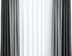 3D living Gray curtains with tulle