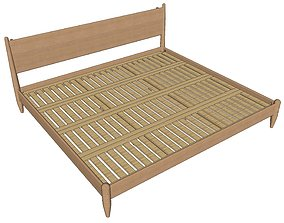 3D model Mid-Century Style Bed with accessories case