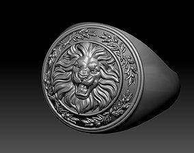 Roaring lion signet ring 3D print model