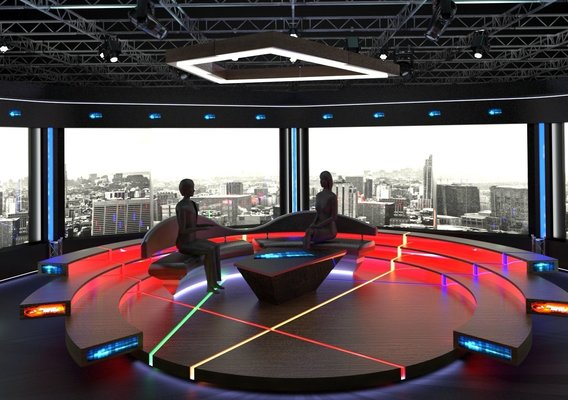 Virtual TV Studio Chat Set