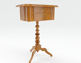 3D model Small wooden classic table for sewing utensils