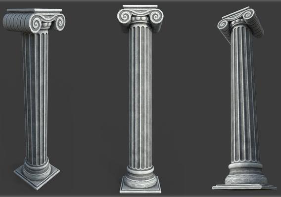 Game Art Low poly Roman Column 3