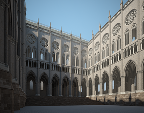 3D model historic Courtyard of a Gothic Temple