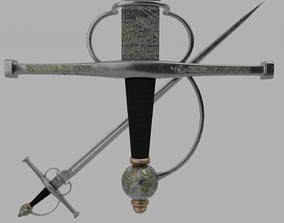 3D asset Bolognese Early Sidesword