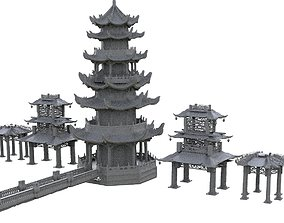 3D model Chinese Towers architecture Collection
