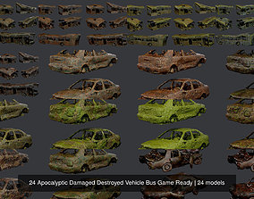 3D 24 Apocalyptic Damaged Destroyed Vehicle Bus Game Ready