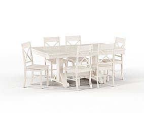 3D model Maison Rouge Millwright Wood Dining Set in 1