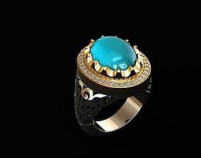3D print model pendant turquoise ring