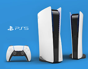 3D model Sony PlayStation 5 with contoller