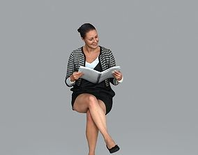 Sitting Business Woman Reading Book 3D model