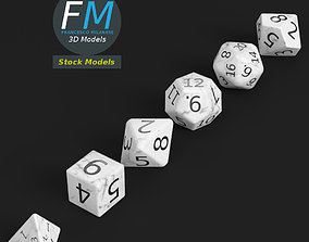 6 rpg dnd dice 3D model