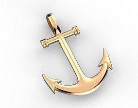 3D printable model Anchor pendant gold