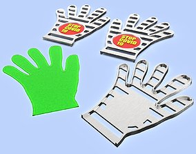 Mold for making cellophane gloves set XL L M S 3d