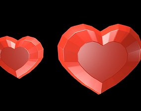 Low poly red hearts 3D model