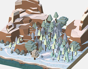 3D asset Isometric style winter big mountain landscape