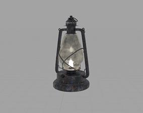 High Quality Rusty Kerosene Lamp and Miner Hat 3D asset 2
