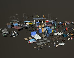 3D asset Post Apocalyptic Low Poly Props