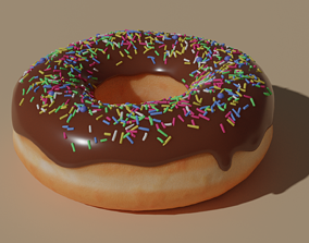 3D Chocolate donut with sprinkles