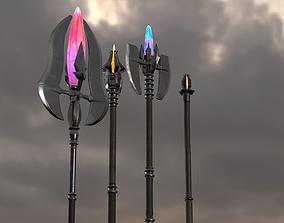 PBR Magic staves Level1-4 3D asset