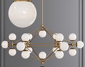 Modo 6 Sided Chandelier 21 Globes Brushed Brass 3D model 2