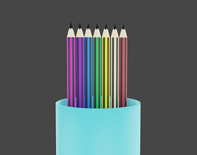 3D asset 7 pencils with 7 colors of rainbow