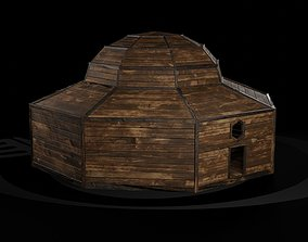 AAA Wooden Enterable Medieval Primal Thatched 3D asset 4