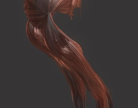Woman hairstyle anatomy 3D asset game-ready