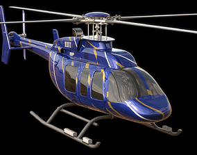 Helicopter - Bell Chopper - Exterior and Interior 3D