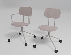 3D model NEW SCHOOL - Trestle-based plywood chair with 2