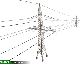 Lowpoly Modular Power line Pole 3D model game-ready