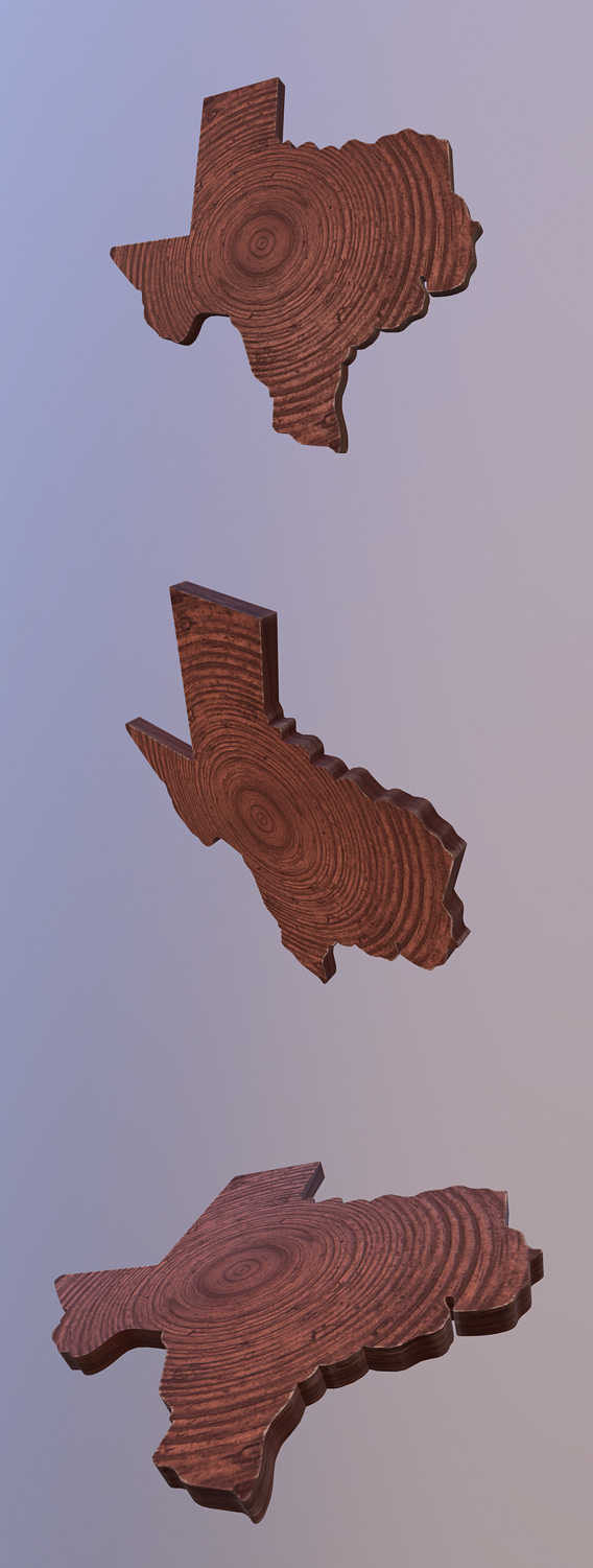 Texas map shaped wood cut plank