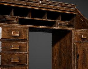 3D asset Wood Antique Desk Low Poly Game Ready