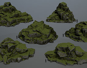 dune mossy 3D asset game-ready rocks