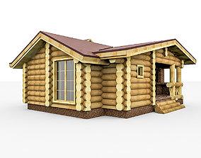 3D Wooden Roundbar House