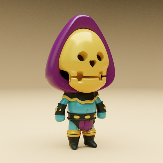 Cartoon Skeleton Warrior Character Low-poly